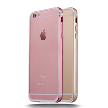 BY-MI Rose gold Metal frame Bumper with silicon bezel glue Design to Reduce the loss phone Bumper for iPhone 5 5S SE 6 6S Plus
