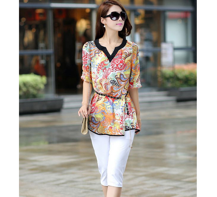 Summer Fashion Casual Women Shirt Blouse Vintage Chiffon V-neck Loose Long Sections Tops - Online Store 923589 store