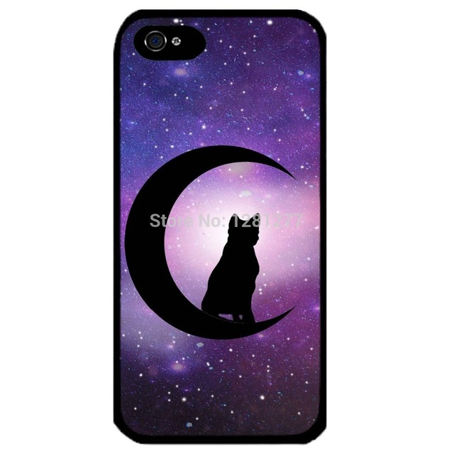 Cover for Iphone 5 Black Cat crescent moon Halloween Supernatural art Phone case