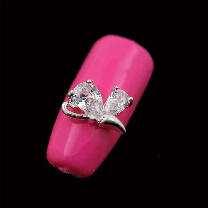 30PCS/LOT SH510 Shiny Glitter Rhinestone Nail Art Silver Tips Alloy Jewelry Nail Design(China (Mainland))