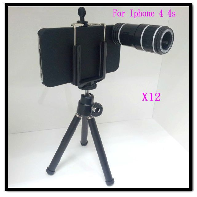 Telephoto Len 12X Optical Zoom Telescope Lens with Tripod Cell Case for iPhone 4 4S Black(China (Mainland))