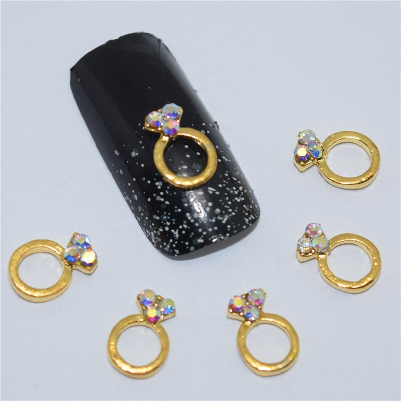 Buy 10psc new golden ring 3d nail art for 5 golden rings decorations