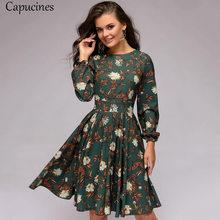 Dot impression marron Vintage a-ligne automne robe 2019 femmes mode élégant volants col rond à manches longues Club fête Mini robes(China)