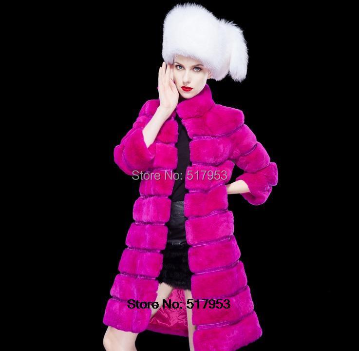 2014 winter Rex rabbit fur coat jacket long sections skirt elegant real coats women leather vest - Hailei E-Commerce Co., Ltd. store