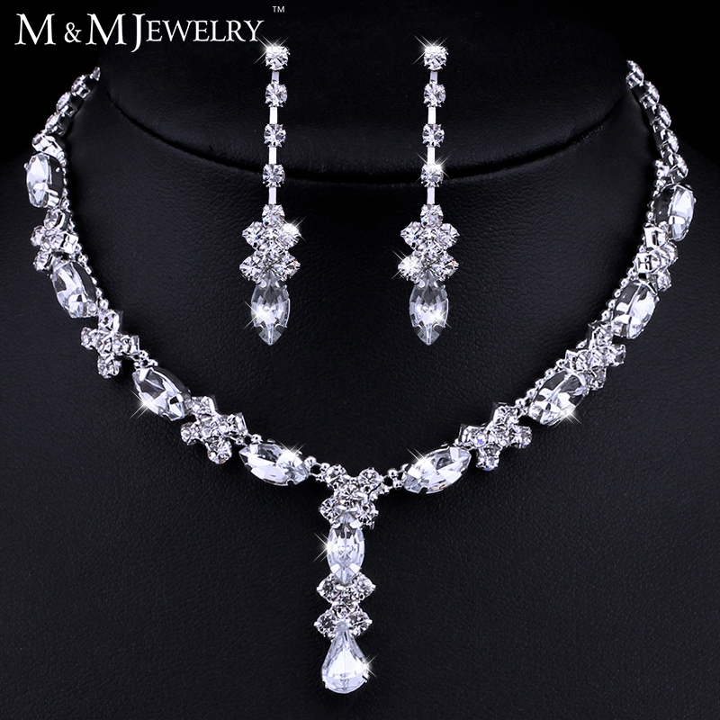 Aliexpress.com  Buy Simple Teardrop Rhinestone Crystal Bridal Wedding Jewelry Sets African ...