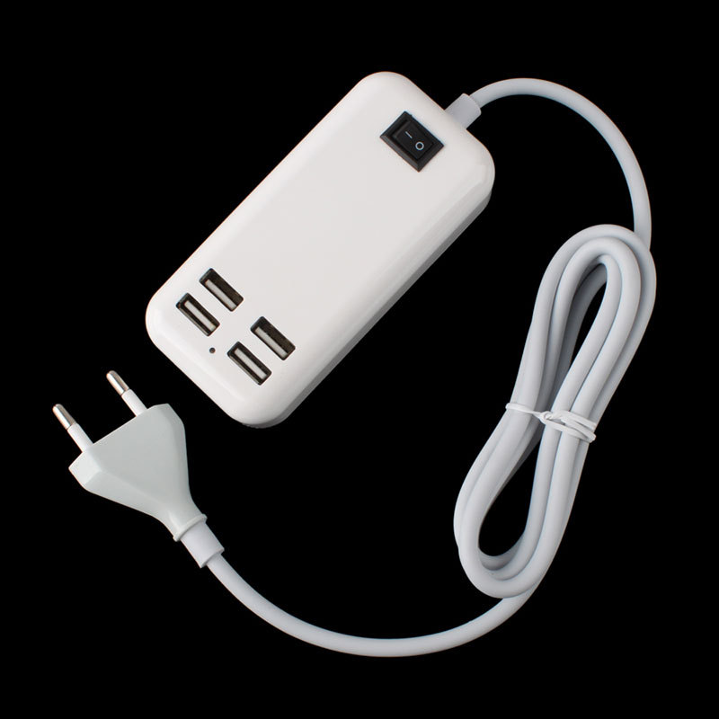 4USB EU Plug Ports Desktop Wall Charger w/ Power Cord for Mobile Phone Tablet #61543(China (Mainland))