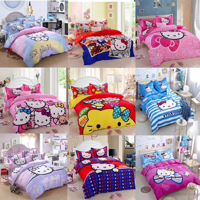 new hello kitty twin queen king size bedding set bed sheet