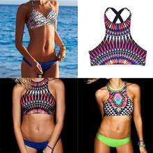 2016 Women High Neck Sexy Bikini Set Low Waist Swimwear Halter BathingSuit Geometric Biquini BackCross Push up Beachwear SJ16031