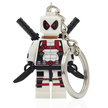XINH 189 White Deadpool Minifigures Super Heroes Keychain For Keys Custom Ring DIY Handmade Key Chain Building Blocks Toys(China (Mainland))