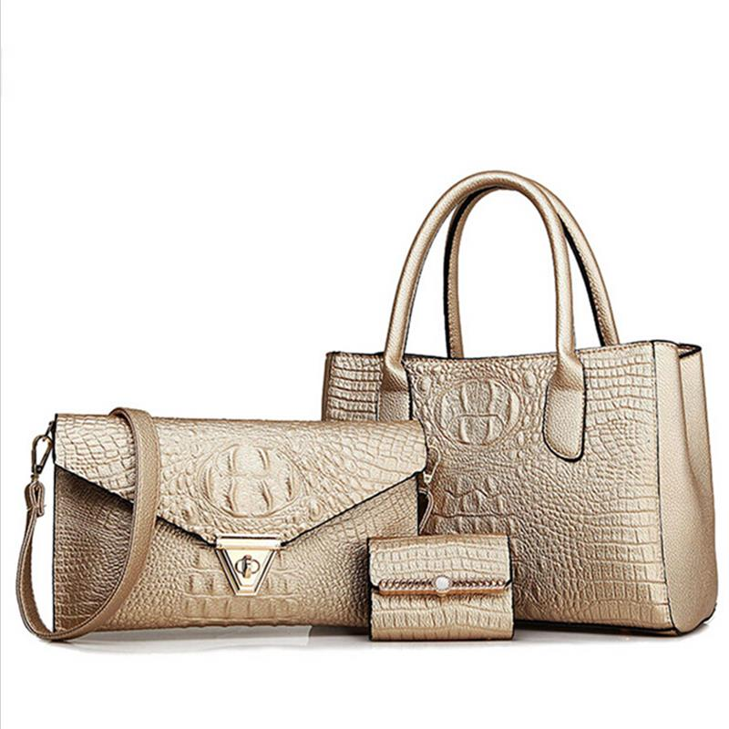 Lowest price! New bolsas women bags luxury crocodile pattern fashion messenger brand leather bag add 3 pieces - Love Vinson international trade company store