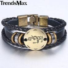 12 znak zodiaku horoskop męska skórzana bransoletka w stylu Vintage Retro urok nadgarstek biżuteria męska prezenty dla mężczyzn Leo raka baran LBM136(Hong Kong,China)