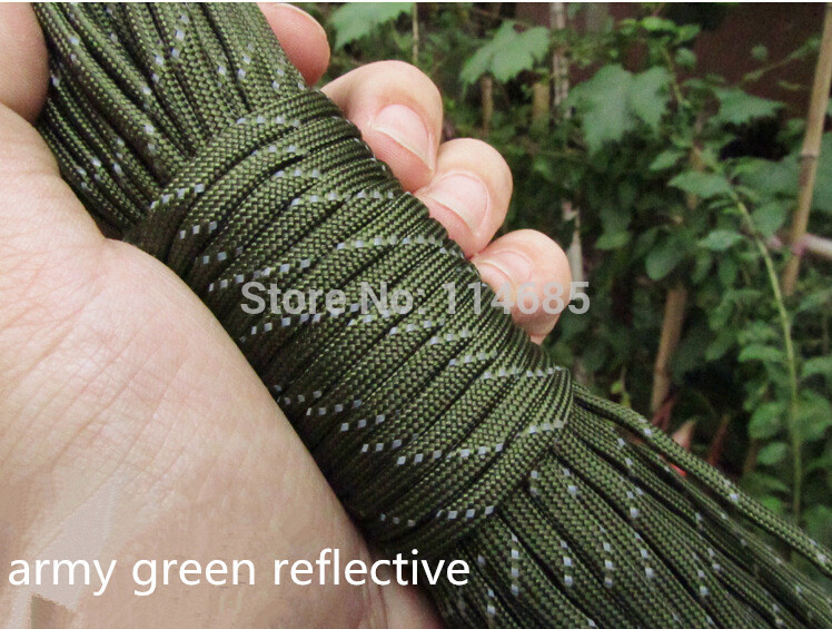 Free Shiping 12 Colors Reflective Paracord 550lb 7 Strand 100FT100 feet/31 Meter Survival 7strand PARACHUTE<br><br>Aliexpress