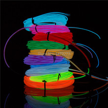 Free Shipping EL wire strip 5m 12v with led strip flexible neon light 5m glow el wire rope flat for car or Party Battery Powered(China (Mainland))