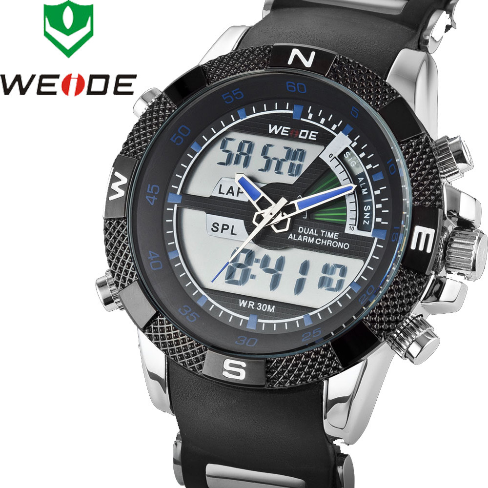 WEIDE Brand Auto Date LED Display Men Sports Watches Diver 30 Meters Waterproof Blue Hands Military Wristwatch Relogio Masculino(China (Mainland))