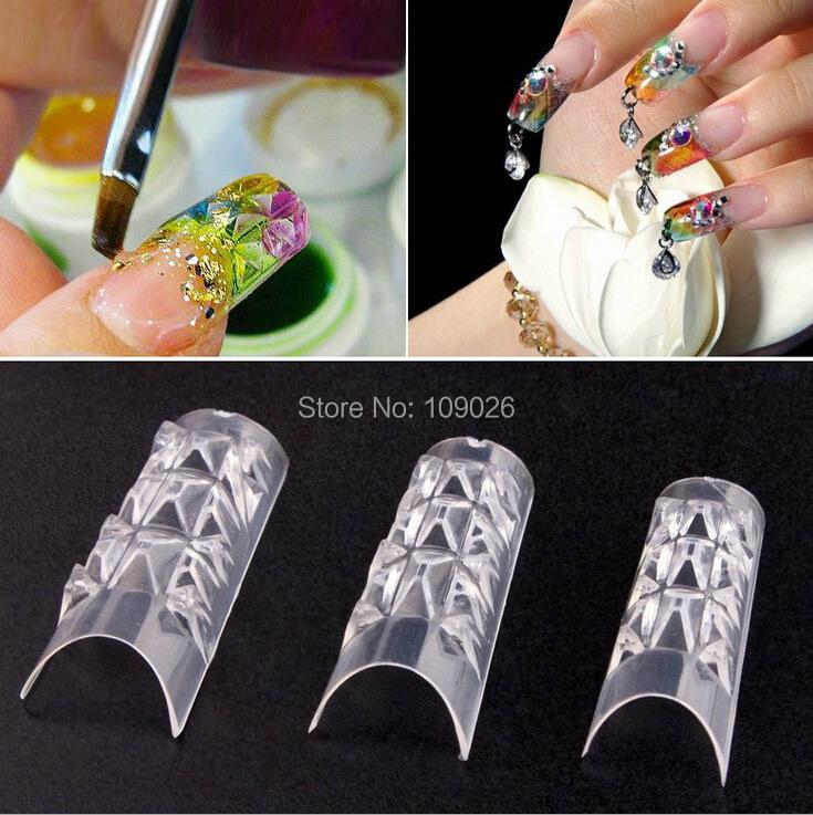 70 Pcs + box French Style False nails coloured glaze of model the nail/transparent crystal a mold Free Shipping(China (Mainland))