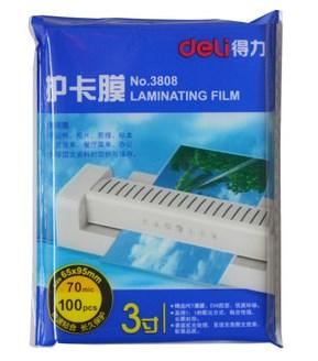 Lackadaisical deli 3808 - 3 plastic film laminating film laminating film 100 crispate 65x95mm(China (Mainland))