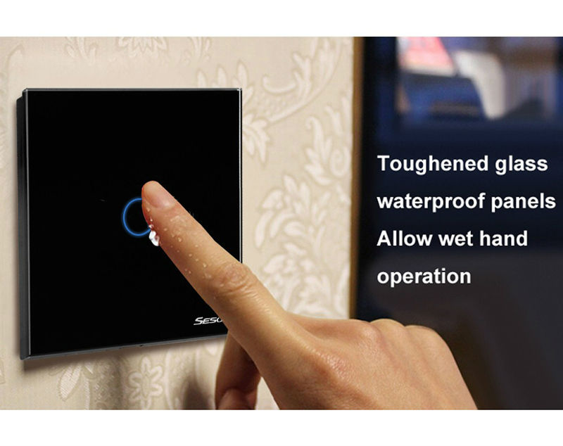 SESOO EU/UK Touch switch standard, 110-240v 1 Gang 1 Way led light switch touch light switch toughened gl ass panel lace