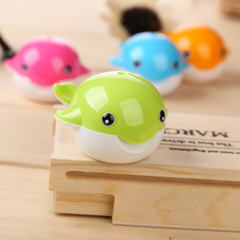 12pcs/lot kawaii stationary Small whale mechanical pencil sharpener machine for kids office school supplies(China (Mainland))