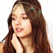 2014 ausgezeichnete Stil Frauen Kopf Türkis Kettenschmuckstirnband Partei Kopfbedeckung Haarband Neue(China (Mainland))