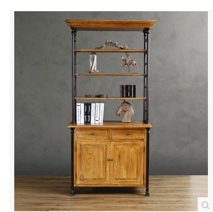 American Retro industrial LOFT style wood bookcase shelves do the old wrought iron old pine bookcase shelves(China (Mainland))