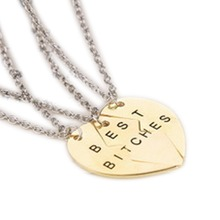 Fashion New Chic Best Bitches Best Friend Forever Break Heart Pendant Necklace Jewelry Accessories 2 Parts NL-0811(China (Mainland))