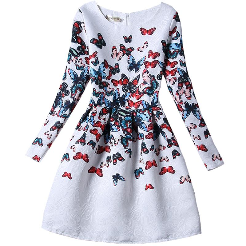 Girls formal dresses Teens designer Print flower Butterfly long sleeve dress easter holiday girl costume 15-473 - Kids' Happy store