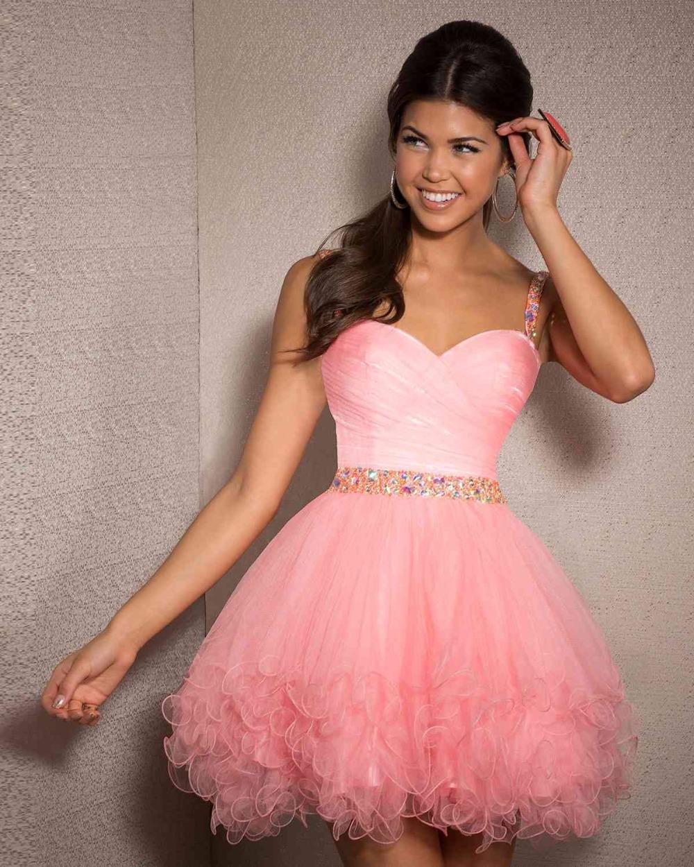 Сексуальное дешевле линии Cystal органзы короткие платья пром складки выше колена платья платья formatura