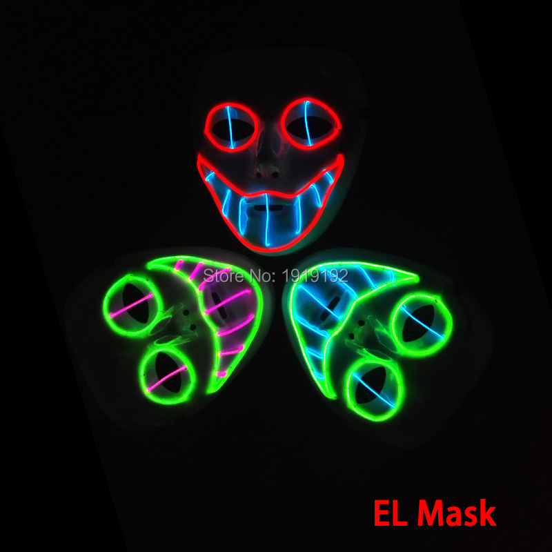 wholesale two color mask Green and Blue EL party led mask pvc DJ dance mask mask party favors By DC-3V Steady on/ Sound Active(China (Mainland))