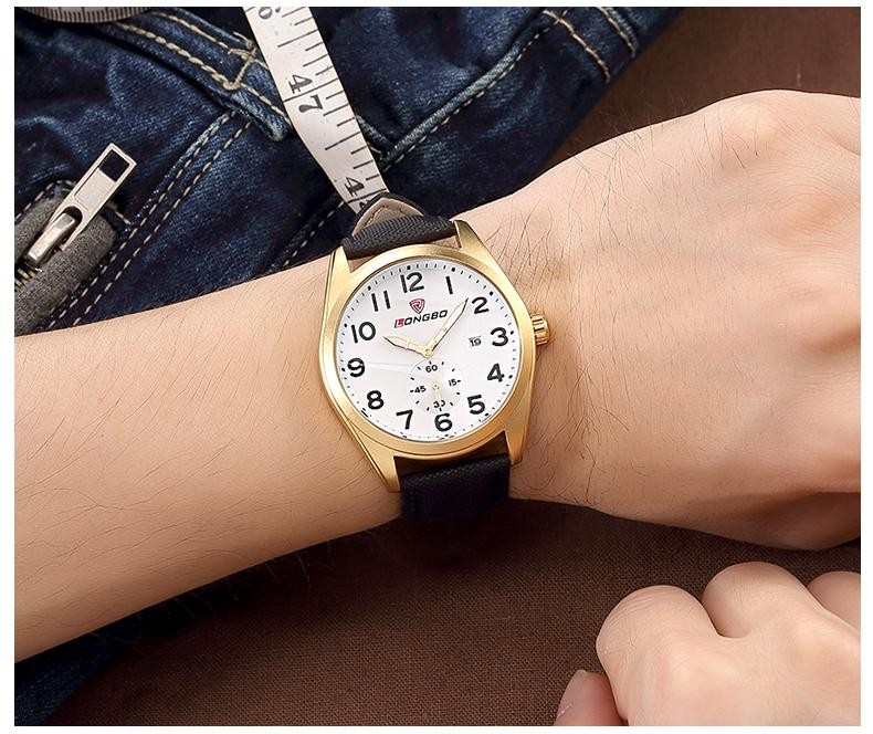 LONGBO Luxury Brand Мужчины Военно-Спортивный Кожаный Кварцевые Часы 2016 Мода Повседневная Дата Календарь Наручные Часы Relogio мужской 80214