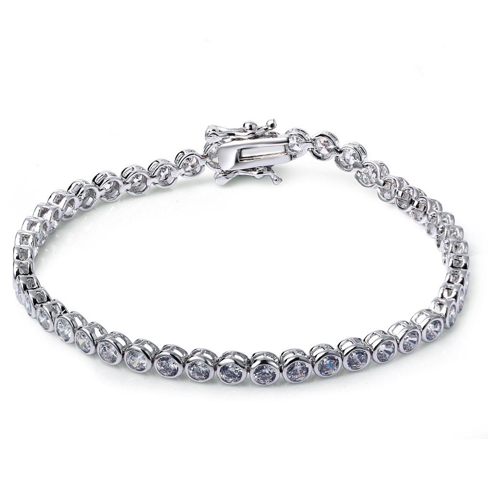 SuperDeals Free shipping Hot sell Platinum plated Classic Cubic zirconia Crystal bridal bracelet wedding jewelry(China (Mainland))