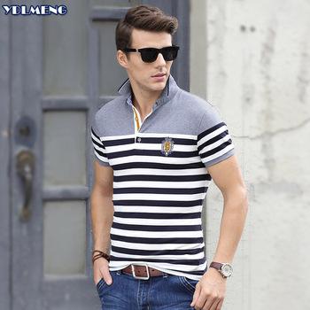 2016 Summer Short Sleeve Mens Polos Homme Turn Down Collar Tops Cotton Brand Golf Grey Striped xxxl Plain Solid Clothing