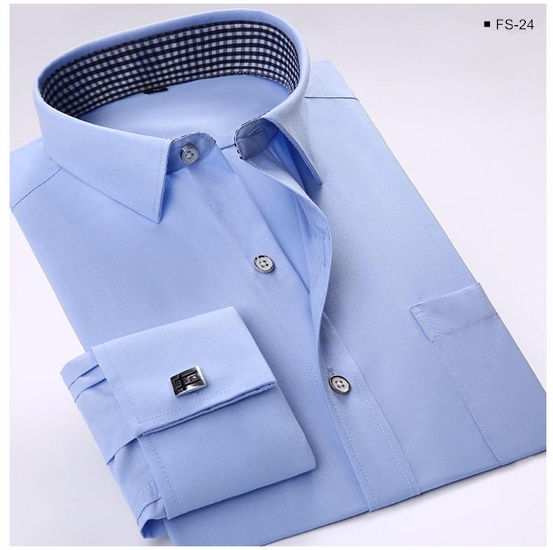 Long Sleeve Square Collar Shirt Cufflinks Included MenS Cuff Dress Shirts