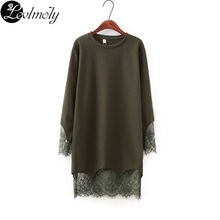 Buy Plus Size 4XL Women Dresses Long Sleeve 2017 Spring New Style Lace Crochet Patchwork Casual Mini Dresses Vestidoes Festa YC13022 for $18.59 in AliExpress store