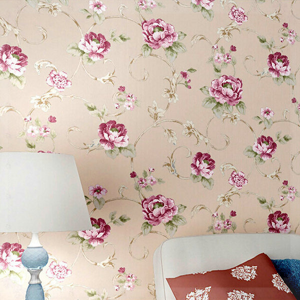 Fashion modern american pastoral wallpaper bedroom living for Red flower wallpaper living room