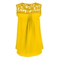 Women Tops Summer Casual Chiffon Blouse Lace Patchwork Sleeveless Floral O neck Shirts Ladies Blouses