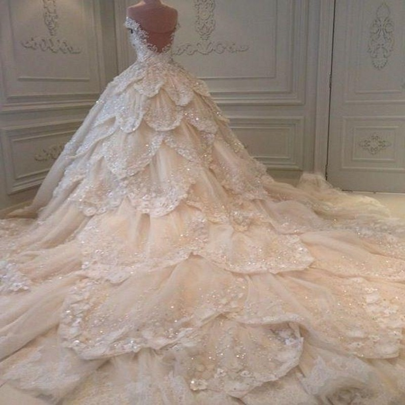 Luxury michael cinco wedding dress a line applique beaded for Wedding dress long train