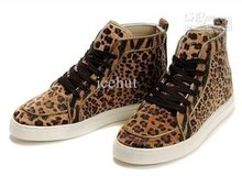 red cloth icehut yy New Men's Cheetah Print Sneaker High Cut Shoes with shoelace + original box,(China (Mainland))