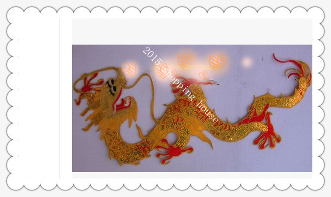 2pcs sewing accessories 40CM*17CM gold embroidery patches bottom piece big red claw dragon China laser decals(China (Mainland))