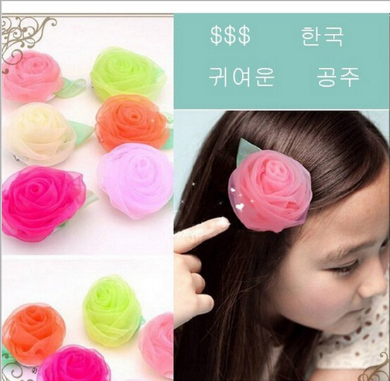Hot Summer Style Chiffon rose floral hair clips Size 7*7cm Children Accessories Hello Kitty Kids Hair Accessories baby Hair Clip(China (Mainland))