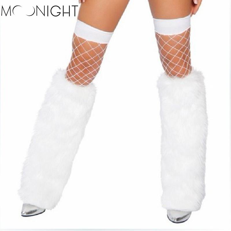 MOONIGHT Long Leg Warmers New Fashion Faux Fox Fur Shoes Legs Warmer Women Boot Socks Winter Sexy Women's Boots Cuffs