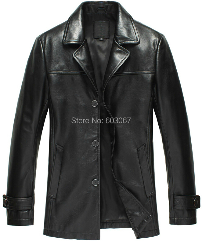 New arrival 2015 male genuine leather clothing men's sheepskin genuine leather clothing trench fur & leather jacket 3XL 4XL(China (Mainland))