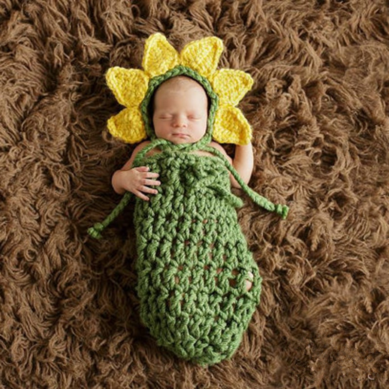 Green Sunflower Crochet Baby Girl Hat Photo Props Toddler Hats For Girls Fotografia Photography Photo Props SY83(China (Mainland))