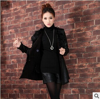 European style new 2015 women fashion Black Soft leather coat autumn winter Medium-Long PU jacket outerwear plus size YU87(China (Mainland))