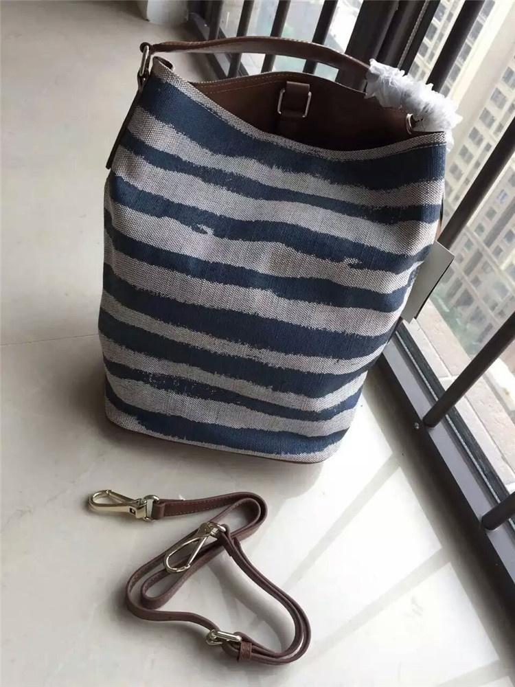New 2016 Women Fashion Medium Size Stripped Double Jute Hobo Bag /Designer Brand Quality handbags/blue/orange/red(China (Mainland))
