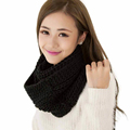 Attractive Solid Color Fashion Women Winter Warm Infinity 2 Circle Cable Knit Cowl Neck Long Scarf