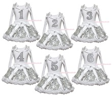 Birthday 1ST 2ND 3RD 4TH 5TH 6TH White Long Sleeve Top Girls Bling Sequin Skirt Outfit 1-8Y(Hong Kong)