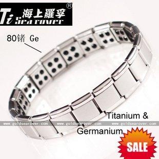 Free shipping!Super deal!80 Germanium Stones Titanium Bracelet