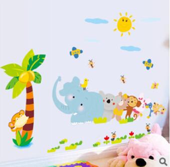 Мультфильм животных виниловые обои наклейки для детей номеров домашнего декора DIY детский обои арт наклейки 3D украшение дома !