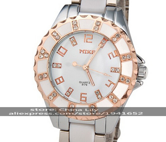 2016 MIKE 8179 Women's Stainless Steel & Ceramic Analog Watch with Crystal Decoration (Champagne Gold)(White & Silver)(China (Mainland))