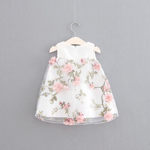 2016 Girls Lace flower Top Fashion Children Princess Dresses baby Kid sleeveless Floral comfort Children Clothing